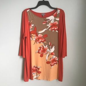 J. Jill Wearever Collection Coral Floral Tunic